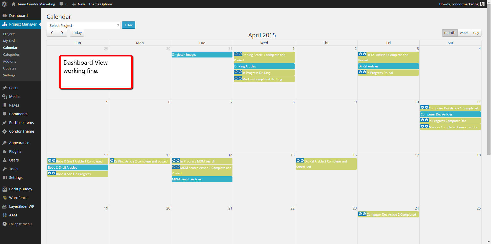 Dashboard View of Calendar